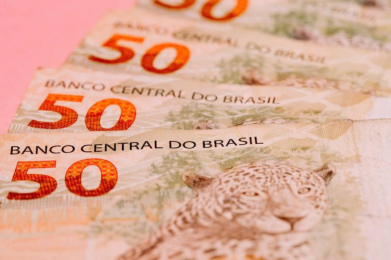 Células de 50 reais, com o face em que aparece o desenho da onça pintada