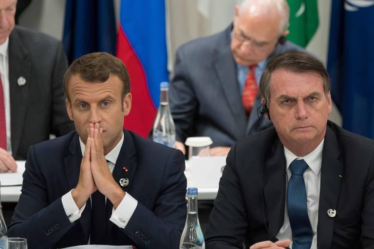 Emmanuel Macron e Jair Bolsonaro durante encontro na reunião do G20 em Osaka, em 2019