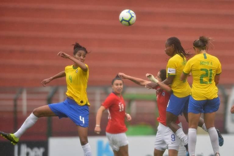 Mulheres de amarelo e vermelho