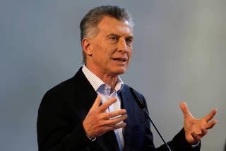 Argentina's President Mauricio Macri attends a ceremony in Ayolas