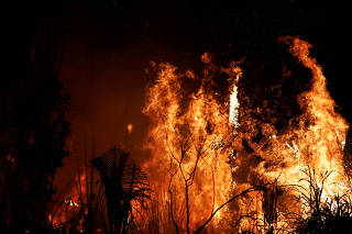 FILE PHOTO: Fire burns a tract of Amazon jungle as it is cleared by loggers and farmers near Altamira