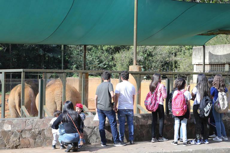 Visitantes apreciam animais no Zoo de São Paulo