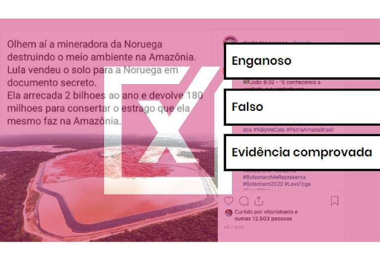 Imagem mostra em pano de fundo postagem de Facebook viralizada com foto do depósito de resíduos, a frente etiquetas, enganoso, falso e evidência comprovada