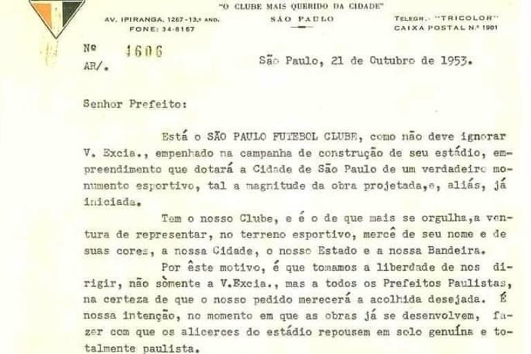 Trecho da carta enviada pelo São Paulo  pedindo a doação de um saco de terra para construção do Morumbi