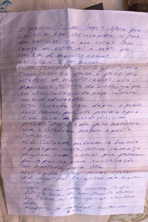 Carta enviada por Adélio à família, em maio de 2019, quando já estava preso na penitenciária federal de Campo Grande (MS) por ter esfaqueado Bolsonaro