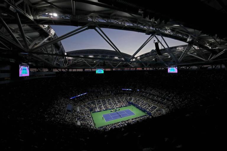 Arthur Ashe Stadium durante jogo da chave feminina do US Open 2019