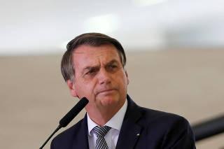 Brazil's President Jair Bolsonaro speaks during a ceremony at the Planalto Palace in Brasilia