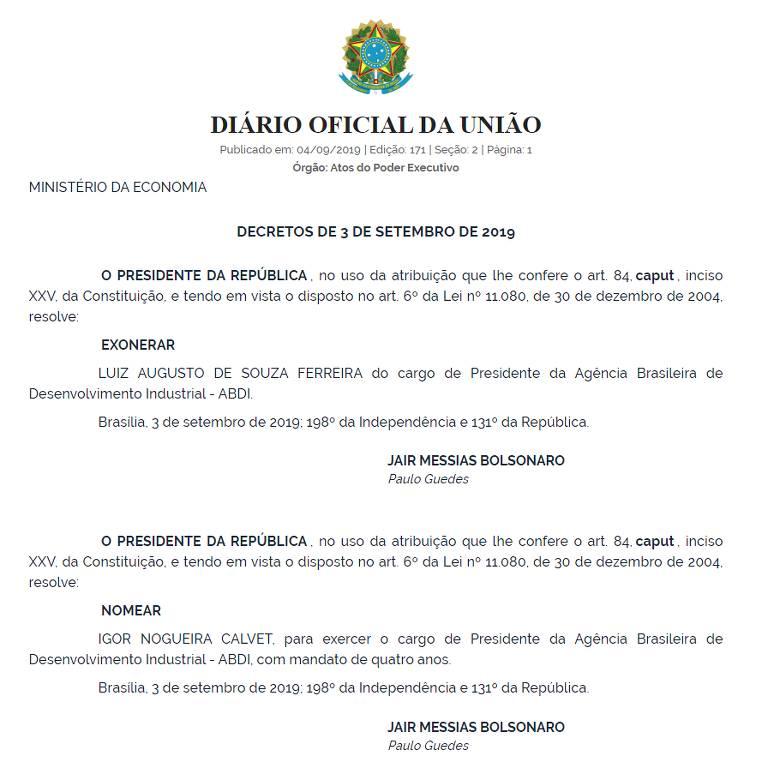 Decreto em que Jair Bolsonaro exonera Luiz Augusto de Souza Ferreira do cargo de presidente da ABDI