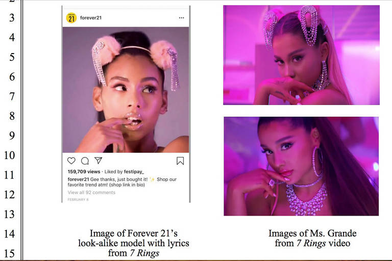 Fotos e imagens publicadas nas redes sociais da Forever 21 são semelhantes a imagens de Ariana Grande