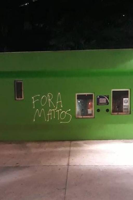 Bilheteria do Allianz Parque com protesto da torcida contra o diretor de futebol Alexandre Mattos