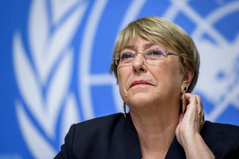 UN Human Rights High Commissioner Michelle Bachelet attends a press conference one year after she took office at the United Nations Offices in Geneva on September 4, 2019. (Photo by FABRICE COFFRINI / AFP)