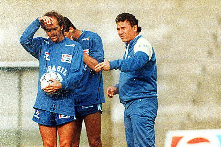 O técnico Sebastião Lazaroni orienta Alemão em treino da seleção brasileira antes da Copa do Mundo de 1990