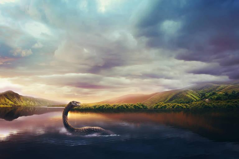 Ilustração do Monstro do Lago Ness, na Escócia