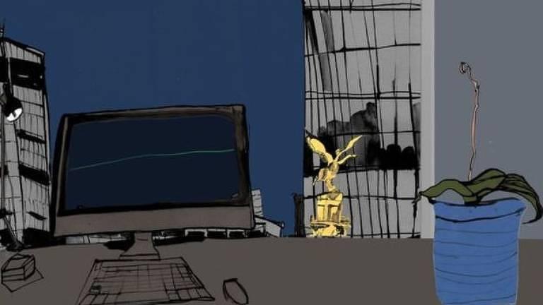 Ilustração de computador com planta seca ao lado