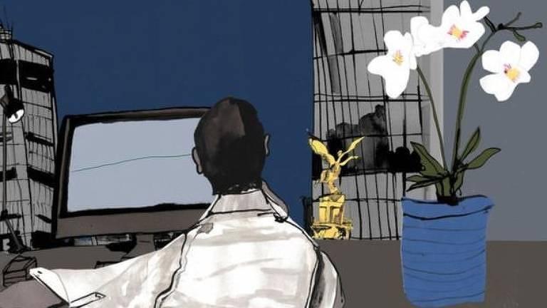 Ilustração de pessoa sentada em mesa com computador e planta ao lado