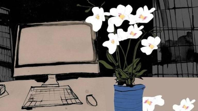 Ilustração de mesa com computador e uma planta ao lado
