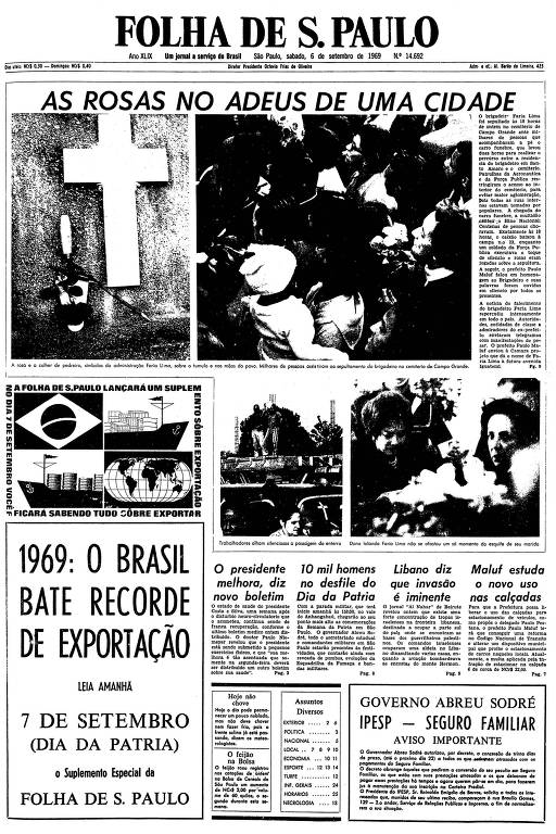 Primeira página da Folha de S.Paulo de 6 de setembro de 1969