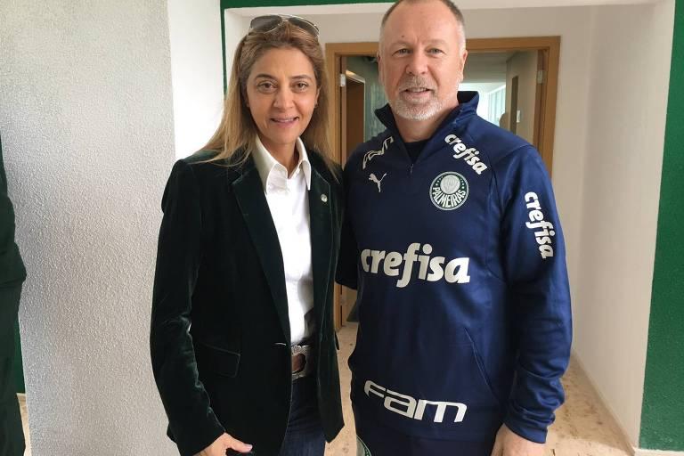Leila Pereira, dona da Crefisa, ao lado de Mano Menezes, técnico do Palmeiras