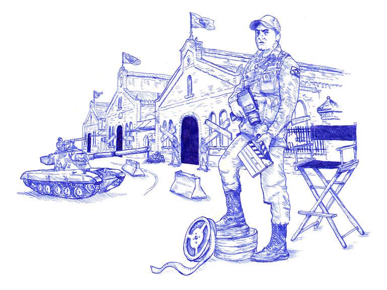 Ilustração mostra militar com o pé sobre rolos de filme posando em frente à Cinemateca Brasileira