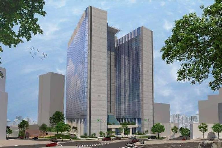 Imagem de anteprojeto de arquitetura do prédio que o Tribunal de Justiça de SP quer construir