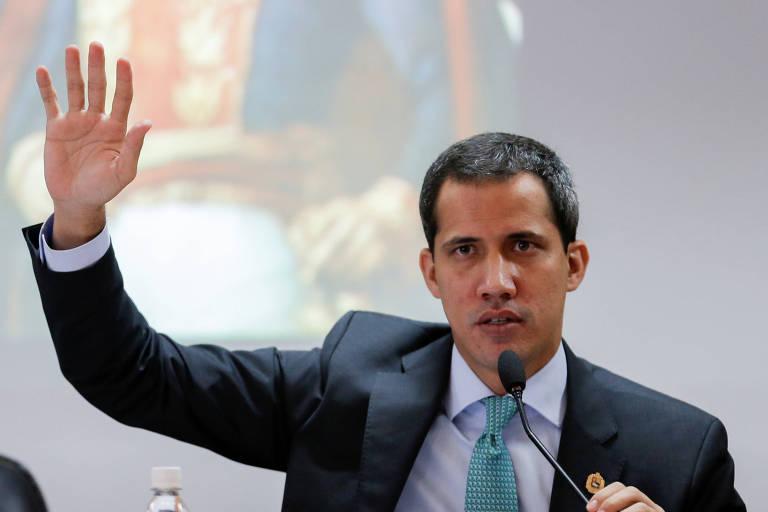 O líder opositor, Juan Guaidó em uma sessão da Assembleia Nacional, em Caracas