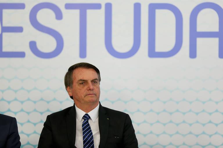 O presidente Jair Bolsonaro na cerimônia de lançamento da carteirinha estudantil, no Palácio do Planalto