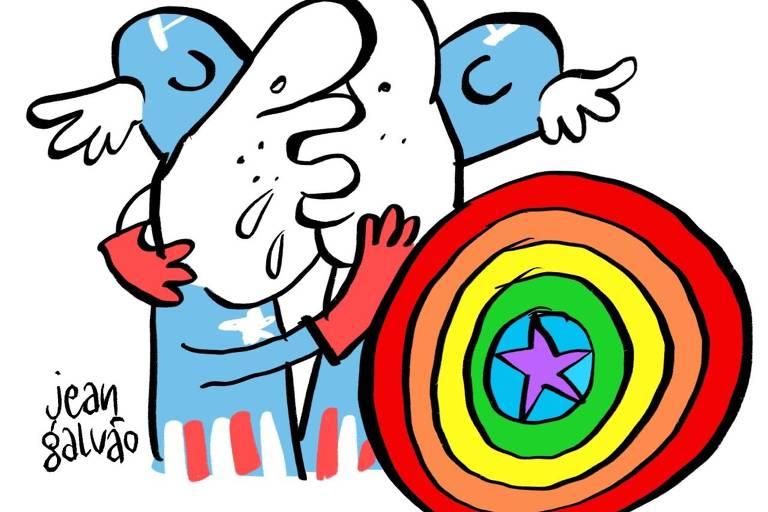 Cartunistas da Folha desenham beijo gay