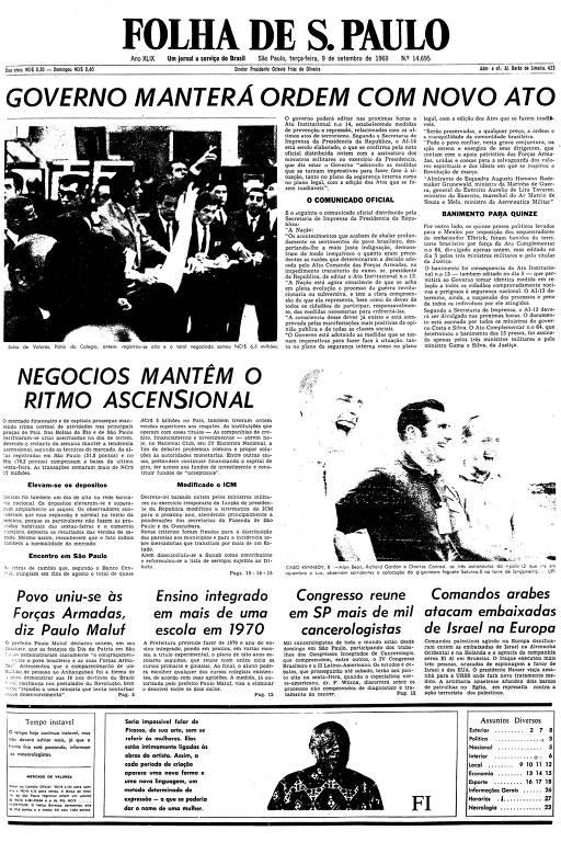 Primeira página da Folha de S.Paulo de 9 de setembro de 1969