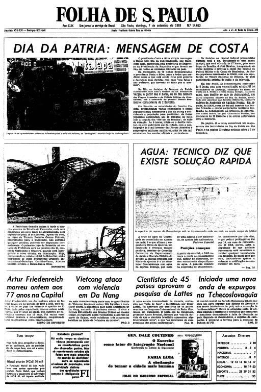 Primeira página da Folha de S.Paulo de 7 de setembro de 1969