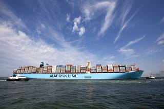 File photo of the MV Maersk Mc-Kinney Moller container ship arriving in Rotterdam harbour