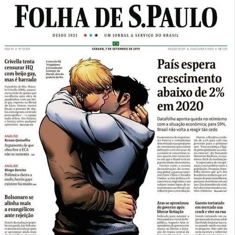 primeira página do jornal com ilustração de beijo gay de quadrinho censurado