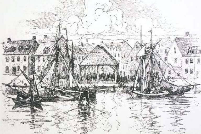 Desenho antigo do mercado, em preto e branco.
