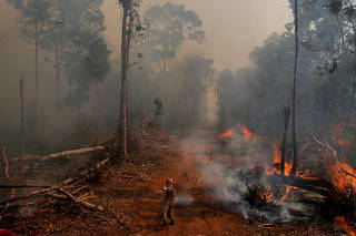 A firefighter from ABAFA Amazonia operation puts out a fire in a forest in the city of Uniao do Sul, in Mato Grosso