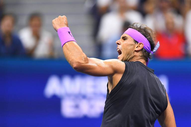 Nadal comemora ponto durante a final do US Open contra Daniil Medvedev