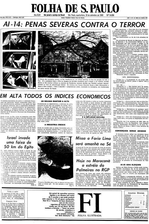 Primeira página da Folha de S.Paulo de 10 de setembro de 1969