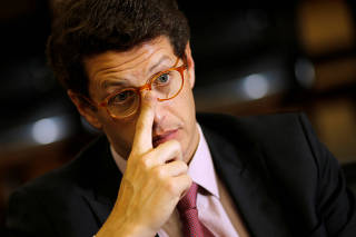 Brazil's Environment Minister Ricardo Salles attends an interview with Reuters in Brasilia