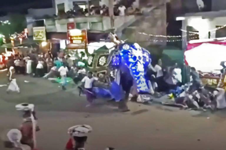 Elefante avança contra multidão no Sri Lanka