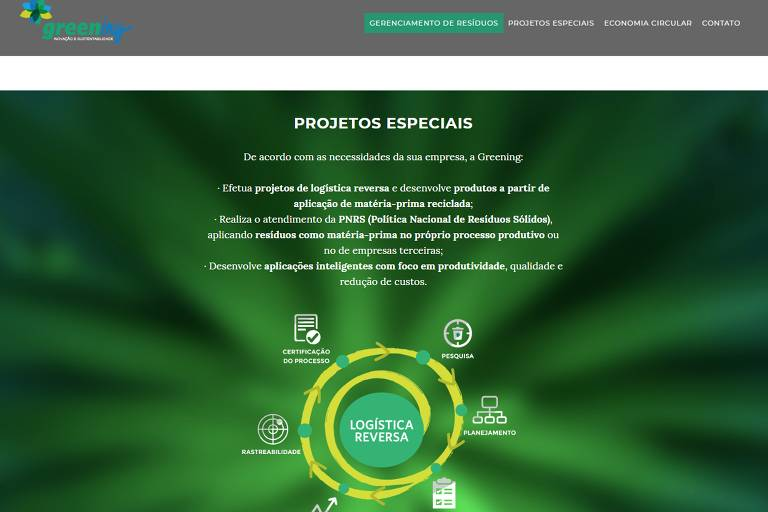 Reprodução do site da empresa Greening, que faz projetos ambientais para empresas