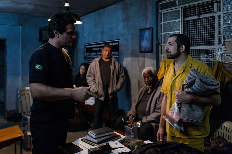Rodrigo Lombardi, Kaysar Dadour, e Tony Tornado e Ivan de Almeida, no fundo