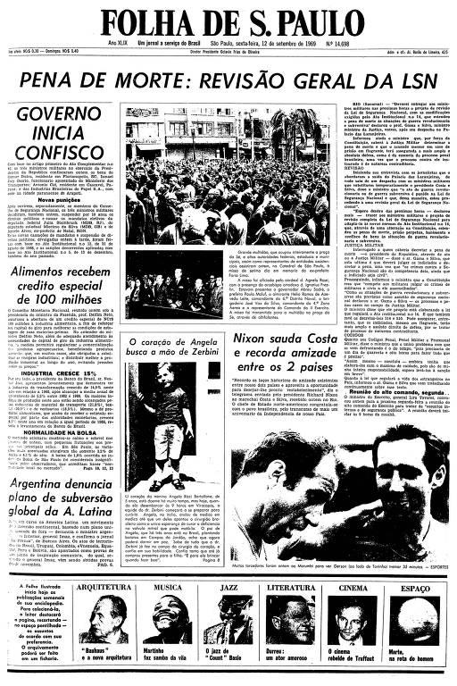 Primeira página da Folha de S.Paulo de 12 de setembro de 1969