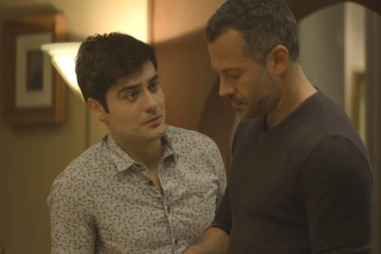 """Leandro (Guilherme Leicam) e Agno (Malvino Salvador) em """"A Dona do Pedaço"""""""