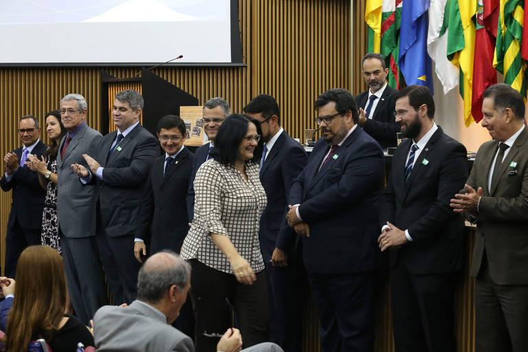 A ministra da Mulher, da Família e dos Direitos Humanos, Damares Alves, durante posse dos novos integrantes da Comissão de Anistia