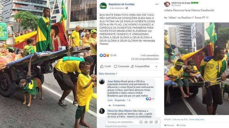 Montagem mostra duas postagens em redes sociais, uma é do dia 8 de setembro de 2019 e outra do dia 16 de março de 2016. Ambas mostram a mesma família de ângulos muito parecidos. é possível ver um catador de recicláveis à frente de uma carroça, junto de três crianças e um cachorro, vestindo verde e amarelo e bandeiras do Brasil.