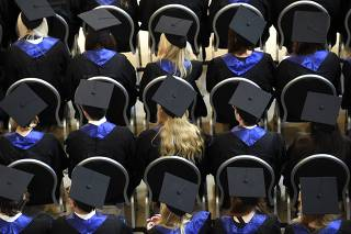 Students attend their graduation ceremony at the HSBA in Hamburg