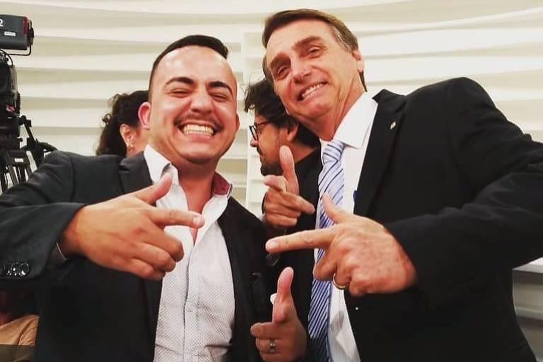 O novo prefeito de Mirandópolis, Everton Sodario, com Bolsonaro