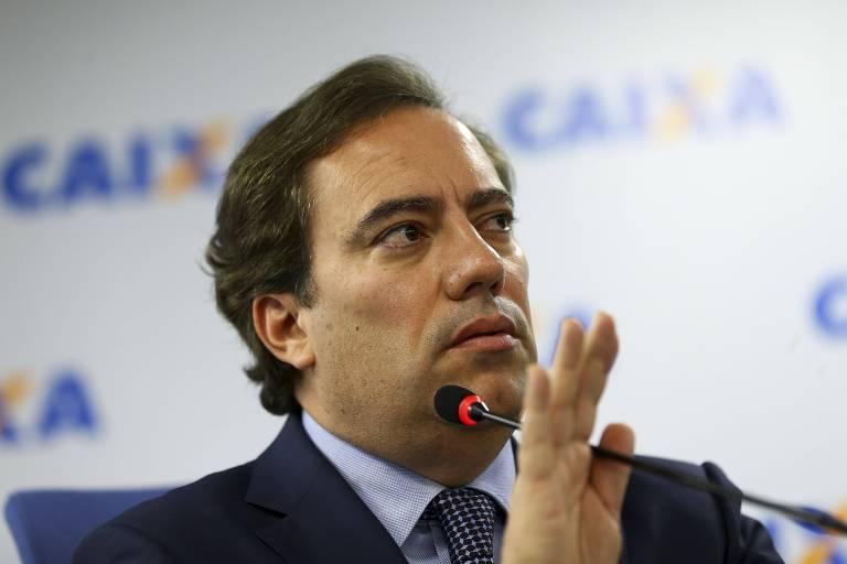 Pedro Guimarães, presidente na Caixa Econômica Federal durante evento