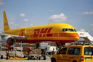 A DHL Boeing 757 cargo airplane is pictured at the Leipzig/Halle airport in Schkeuditz