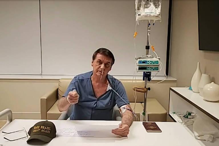 Bolsonaro faz transmissão ao vivo relâmpago do hospital em redes sociais mesmo com sonda