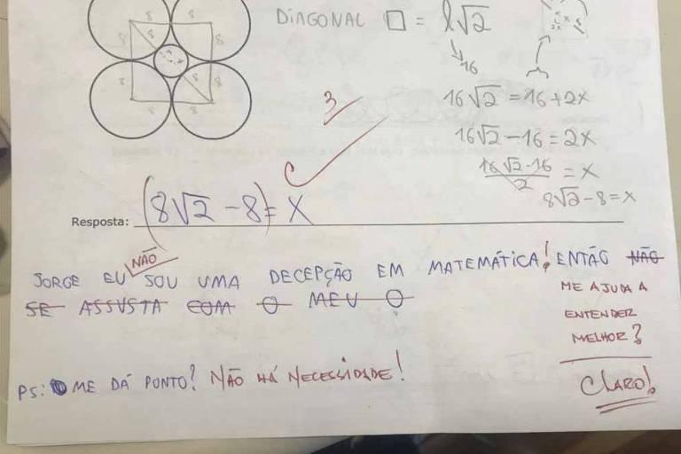 Foto de recado fofo de professor de matemática em prova viraliza
