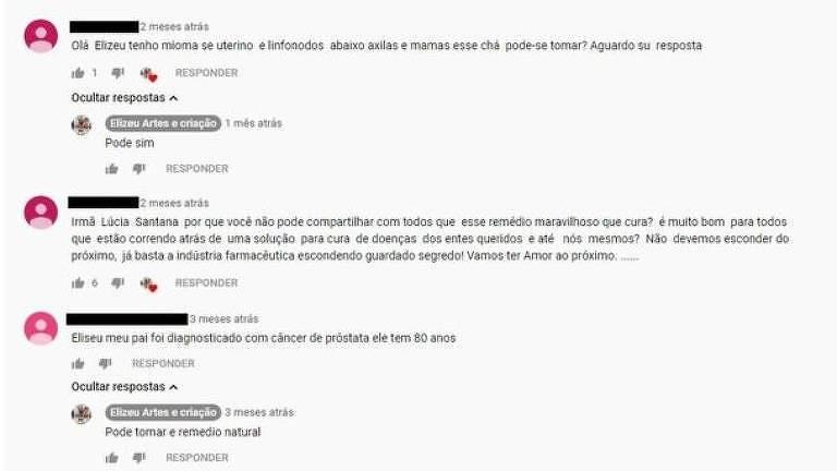 Questionado em comentários no vídeo, YouTuber recomenda 'remédio natural'
